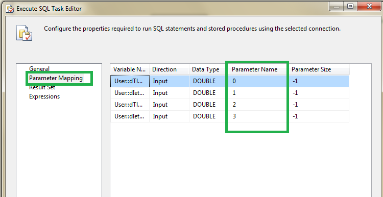 How to fix the SSIS error :  Parameter name is unrecognized.   2