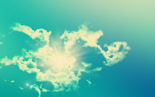Pure Blue Sky Sun Behind The Clouds HD Wallpaper