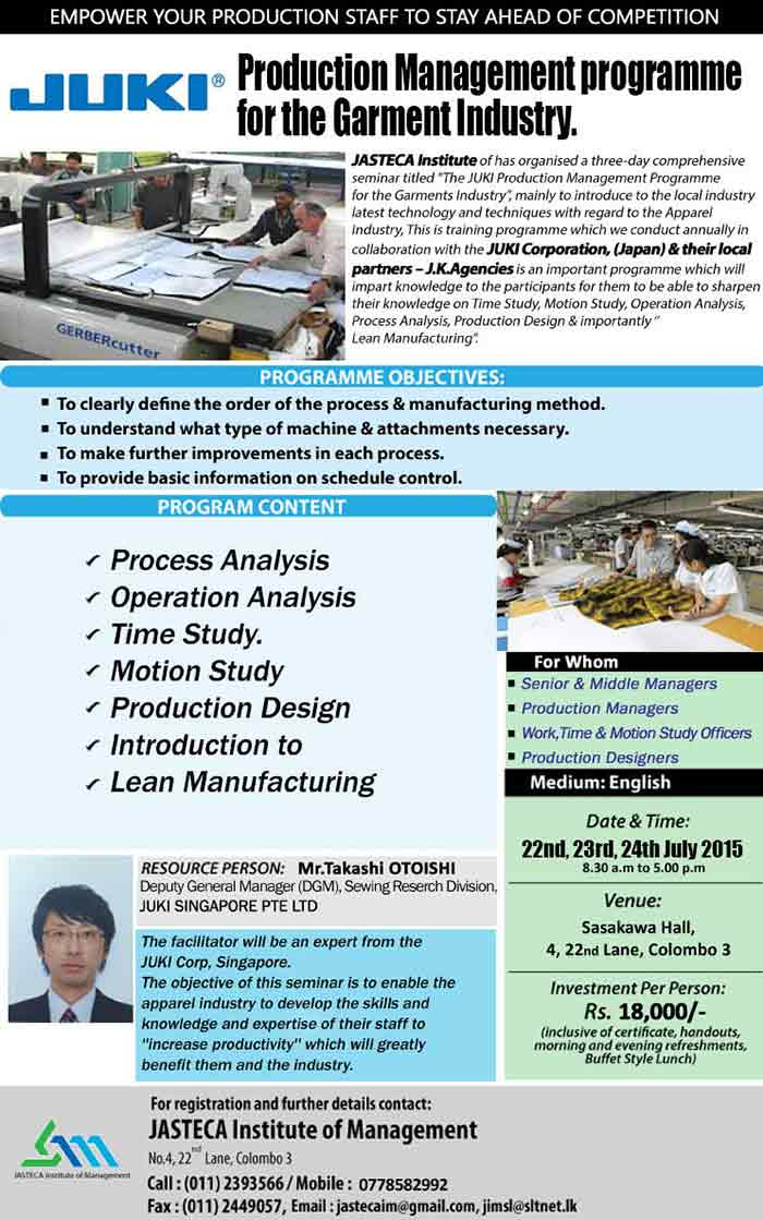 Production Management for Apparel Industry