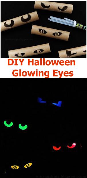 Diy halloween glowing eyes handy homemade for Glow sticks in toilet paper rolls