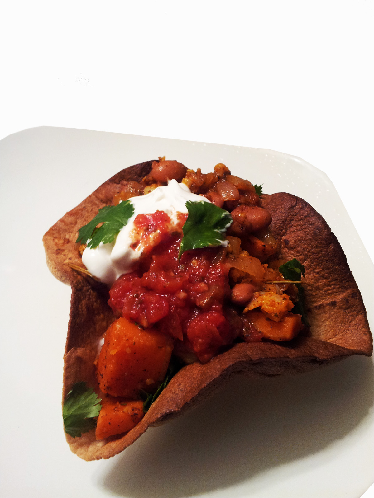 ... of Meat: Tostadas with Cauliflower & Sweet Potato in Oven Baked Shells