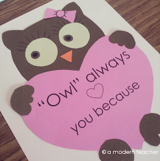 Valentin'es Owl Craft and Writing Prompt from A Modern Teacher