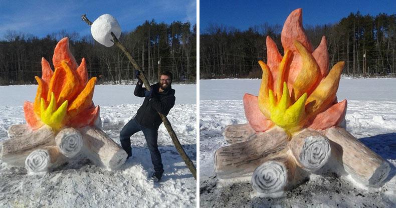 Artista hace gigante fogata y malvavisco con la nieve