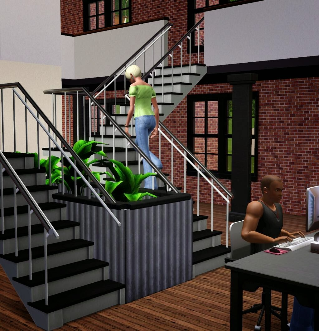 escaleras en forma de l en la prxima avenida de los sims store