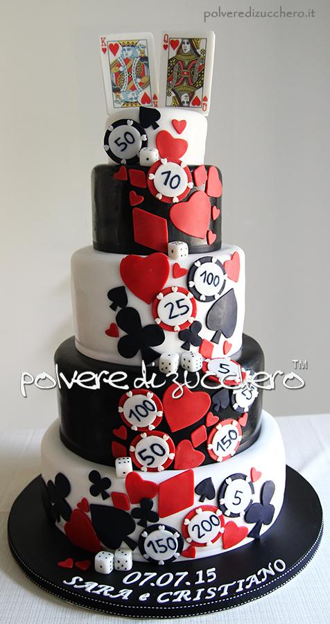 cake design wedding cake torta nuziale casinò carte da gioco fiches polvere di zucchero