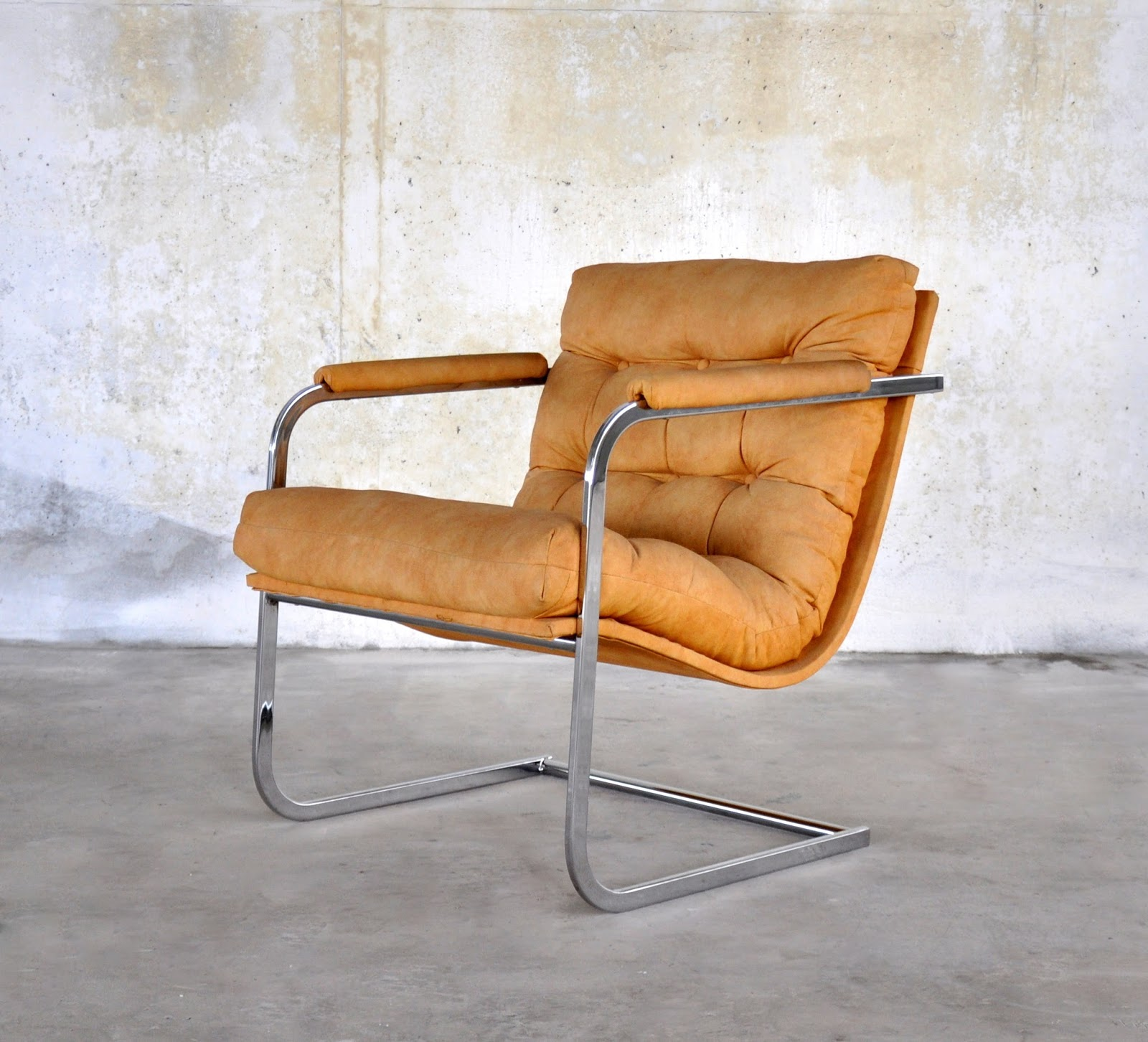 select modern mid century modern chrome cantilever scoop lounge chair