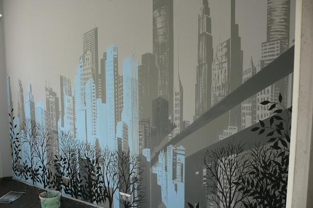 Mural przedstawiający panoramę miast, obraz abstrakcyjny, pejzaż miejscki