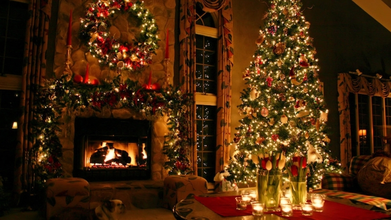 Beautiful Christmas Ornaments Fair With Christmas Tree Fireplace Photos