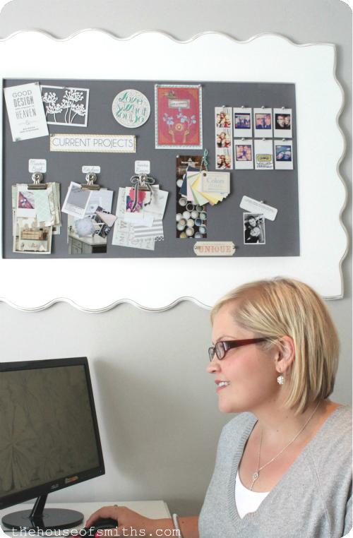 DIY Framed Fabric Pin Board - A Blogger\'s Office Makeover