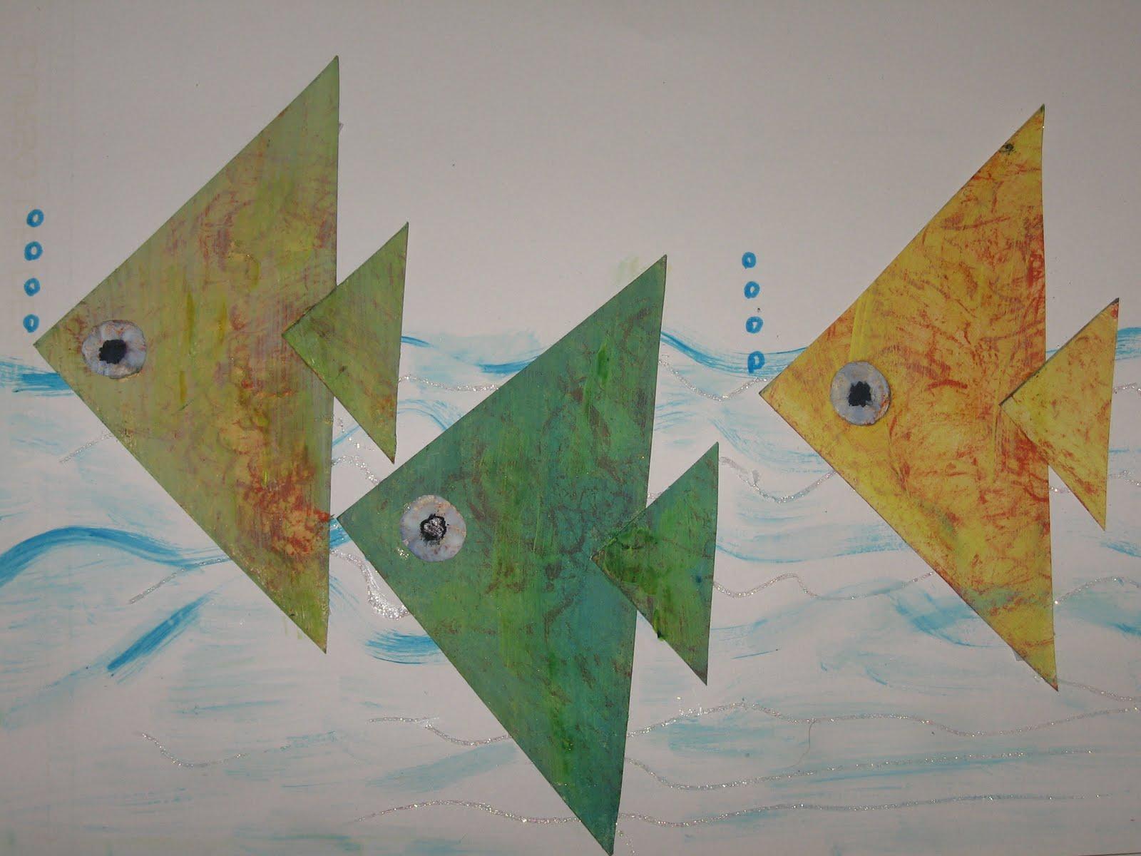 t cnicas de pintura peixes   pintura e colagem
