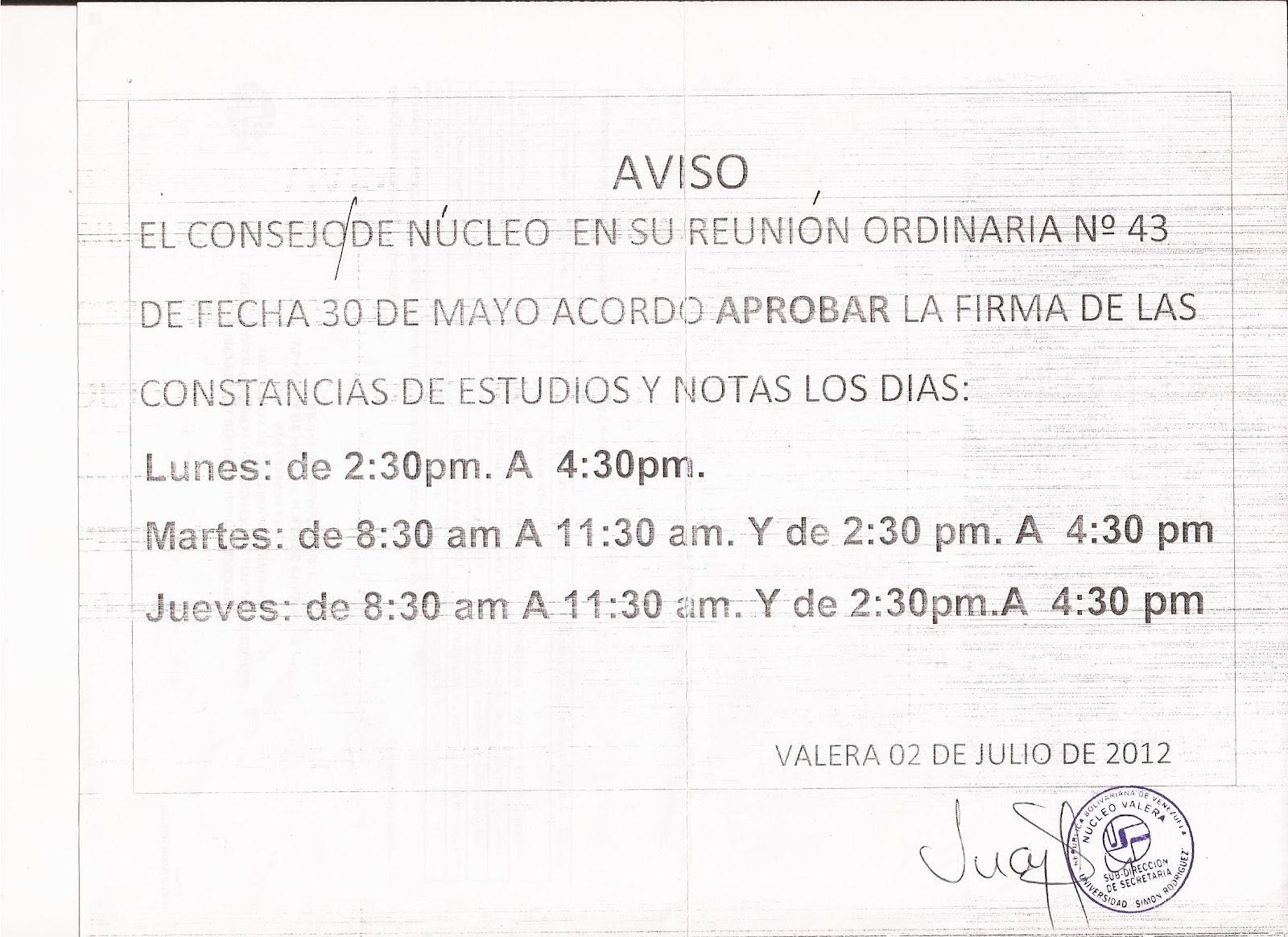 ... de planillas de inscripcion tal cual el horario de atencion por