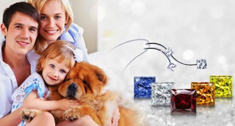 family with pet dog and the coloured pet diamonds