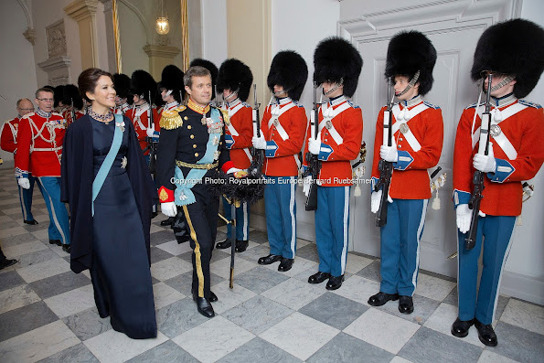 Crown Prince Frederik and Crown Princess Mary of Denmark during the 2nd day of the New Years reception at Christiansborg Palace