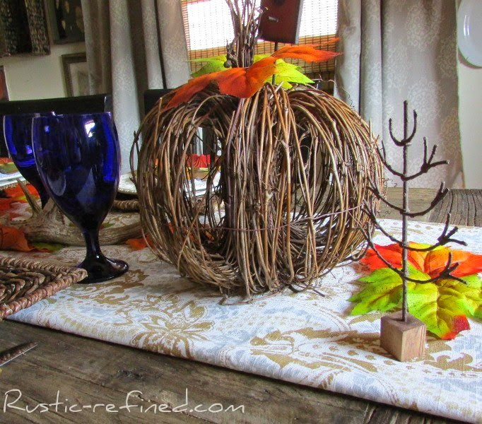Cobalt Blue and Brown Fall Inspirational Tablescape