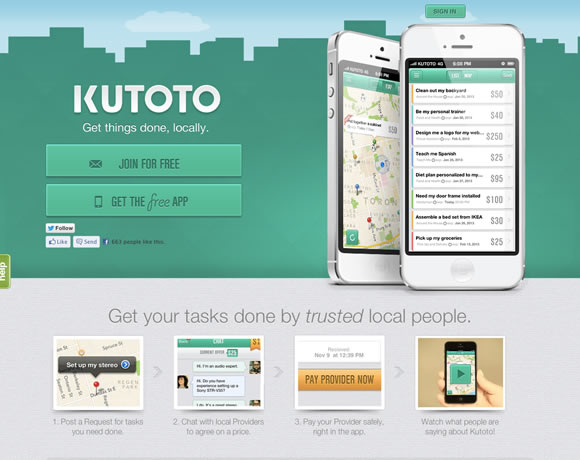 Kutoto iphone app website