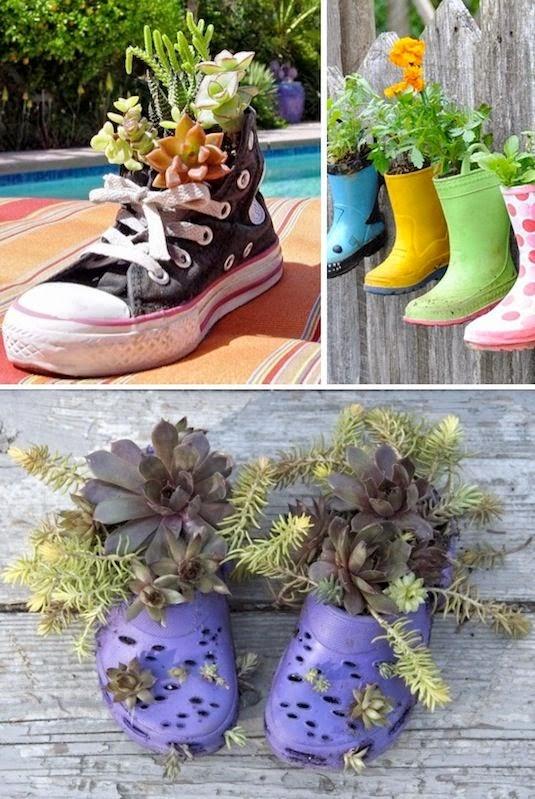 20 ide kreatif pot bunga dan tanaman hias dari barang for Idea untuk garden