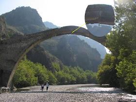 The Old Bridge of Konitsa, Greece Aoos, cross the bridge
