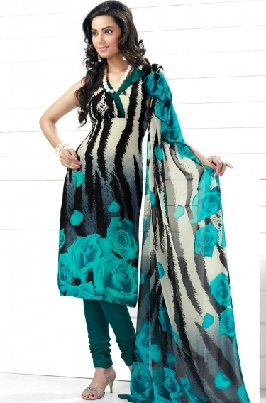 Special Roses Printed Salwar Kameez In 4 Colour Indian