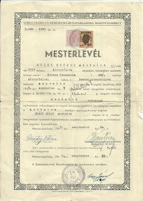 Székelykerületi kereskedelmi és iparkamara, Marosvásárhely - Mesterlevél Szász György 1945. aug. 9.