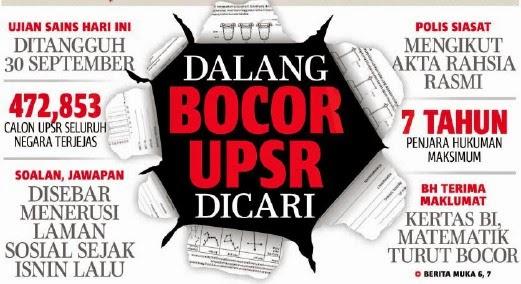 UPSR BOCOR SOALAN BOCOR ATAU INTEGRITI YANG BOCOR oleh Haji Darus Awang Artikel ini dapat 4203 Share Dalam Masa Dua Hari