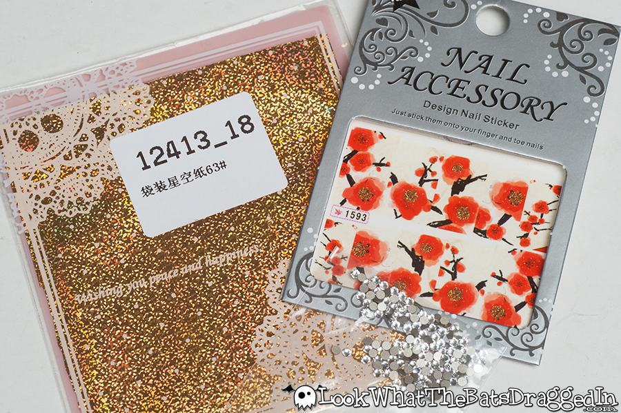 Review of BornPrettyStore Swarovski Rhinestones, Cherry Blossom nail art water decals and gold nail art foils.