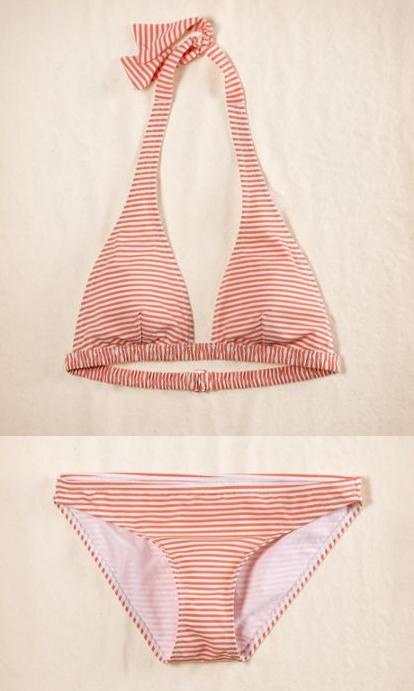 String bikini top, $29.50. String bikini bottom, $24.50.