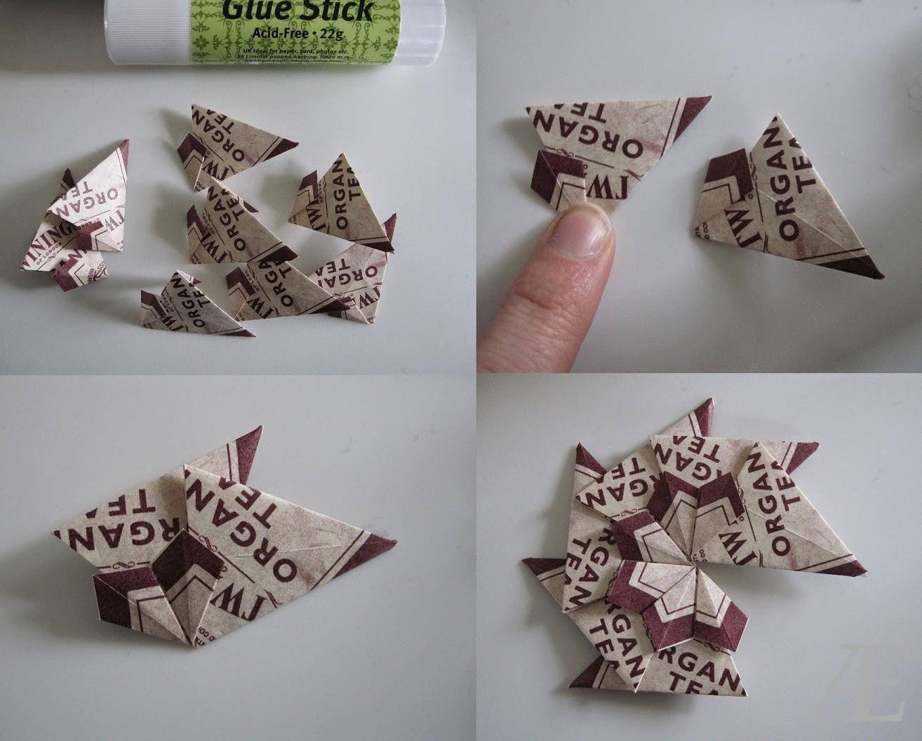 DIY, Origami stjerne foldet af tebreve.