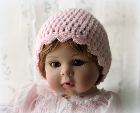 Lacy Crochet Simple Baby Beanie With Scalloped Edging Free Crochet