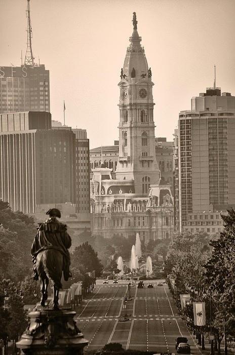 The Parkway in Sepia, Philadelphia