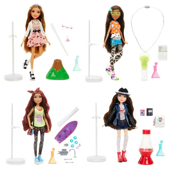 A collage of the 4 Mc2 dolls along with their experiments