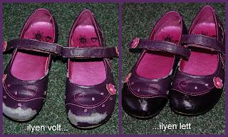 Ilyen volt, ilyen lett a képaláírás. A kép egyik felén egy csini lila virágmintás topánka, melynek az orra le van kopva, a kép másik felén pedig ugyanaz a topánka ezúttal új orral. Az új orr fényes, mintha lakkozott lenne.