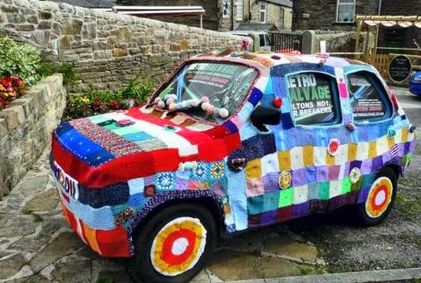 unique car knitted