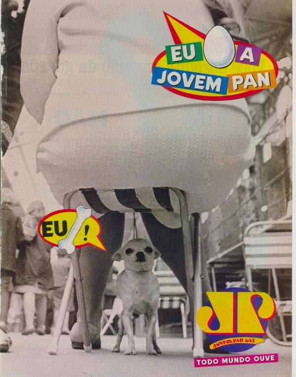 """Campanha da rádio Jovem Pan em 1995 com os termos """"Eu Ovo"""" e """"Eu Osso""""."""