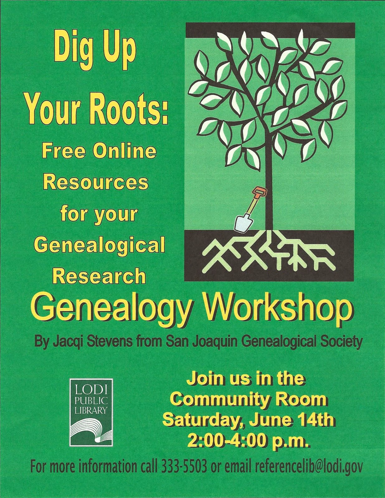 Lodi Public Library collaborates with the San Joaquin Genealogical Society to provide beginners workshops for family history research
