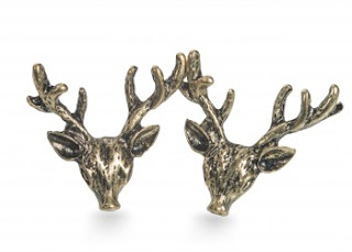 brass three dimensional deer stud earrings