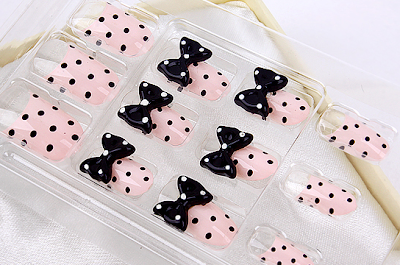 Polka Dots Nail Tips, Hand made nail tips, Cute dots nail art