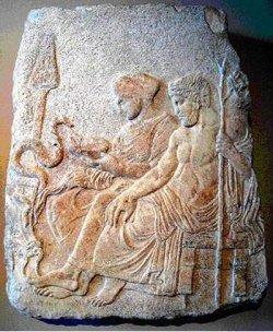 Asclépios avec sa fille  la nymphe Hygie