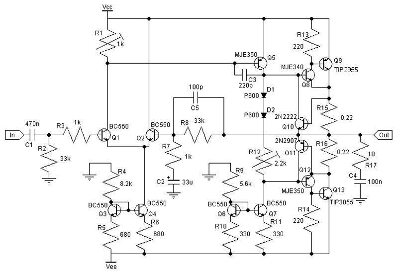 schematic  u0026 wiring diagram  30w class ab amplifier circuit with tip3055  tip2955