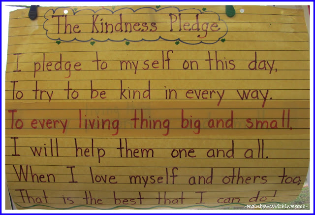 "photo of: ""The Kindness Pledge"" Anchor Chart in Kindergarten via RainbowsWithinReach"