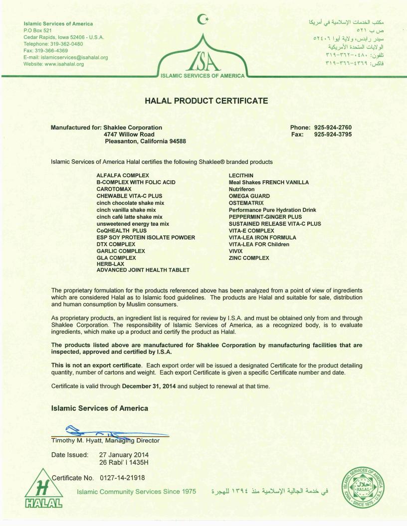 Shaklee Product Halal Certificate 2014