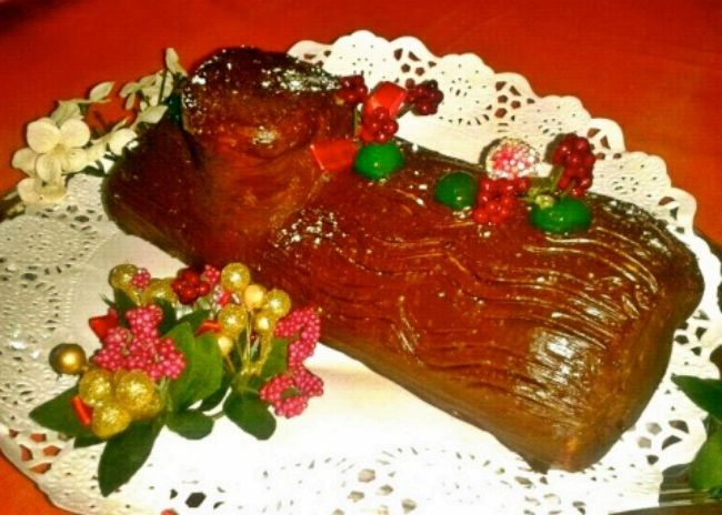 Tronco de Navidad con frutas glaseadas