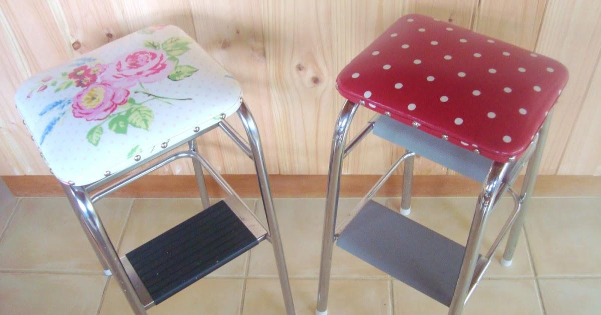 Restyled vintage retro kitchen step stool makeover - Easy steps for a kitchen makeover ...