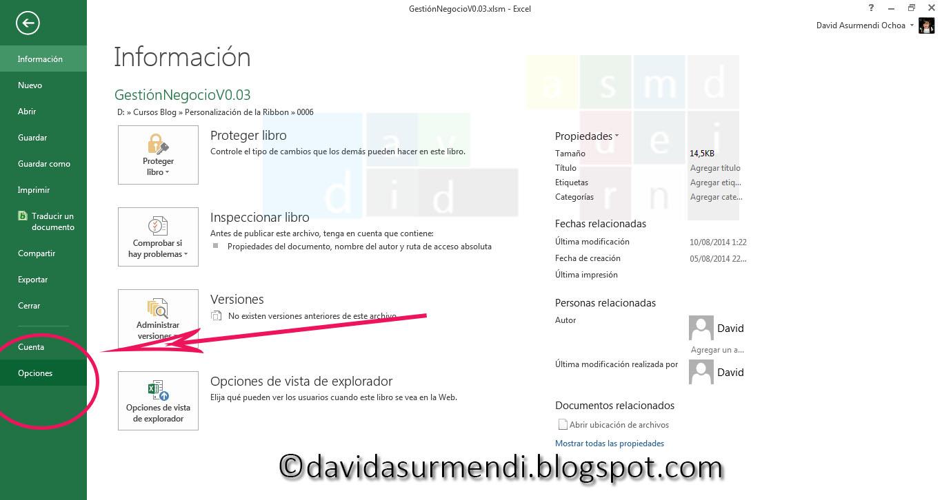 Accedemos a las Opciones de Excel para activar la depuración del código XML