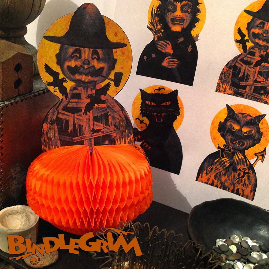 Orange honeycomb base on a vintage-style pumpkin-head scarecrow, with images for witch, devil, and cat shown in background.