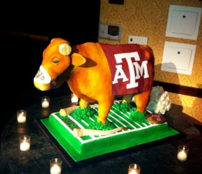 Texas A M groom's cake de-horns Texas mascot Bevo.