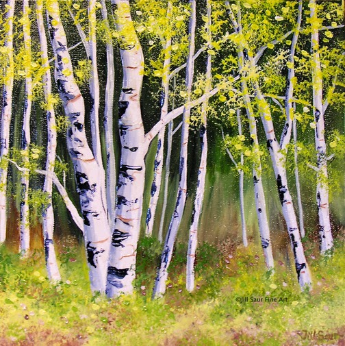 summer aspen tree painting