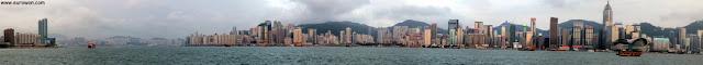 Vista del skyline de Hong Kong visto desde la Avenida de las Estrellas de Hong Kong