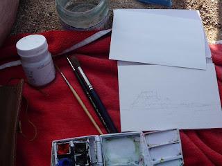 Materiales de pintura con acuarelas