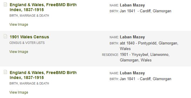 Ancestry sarch results for Laben Mazey