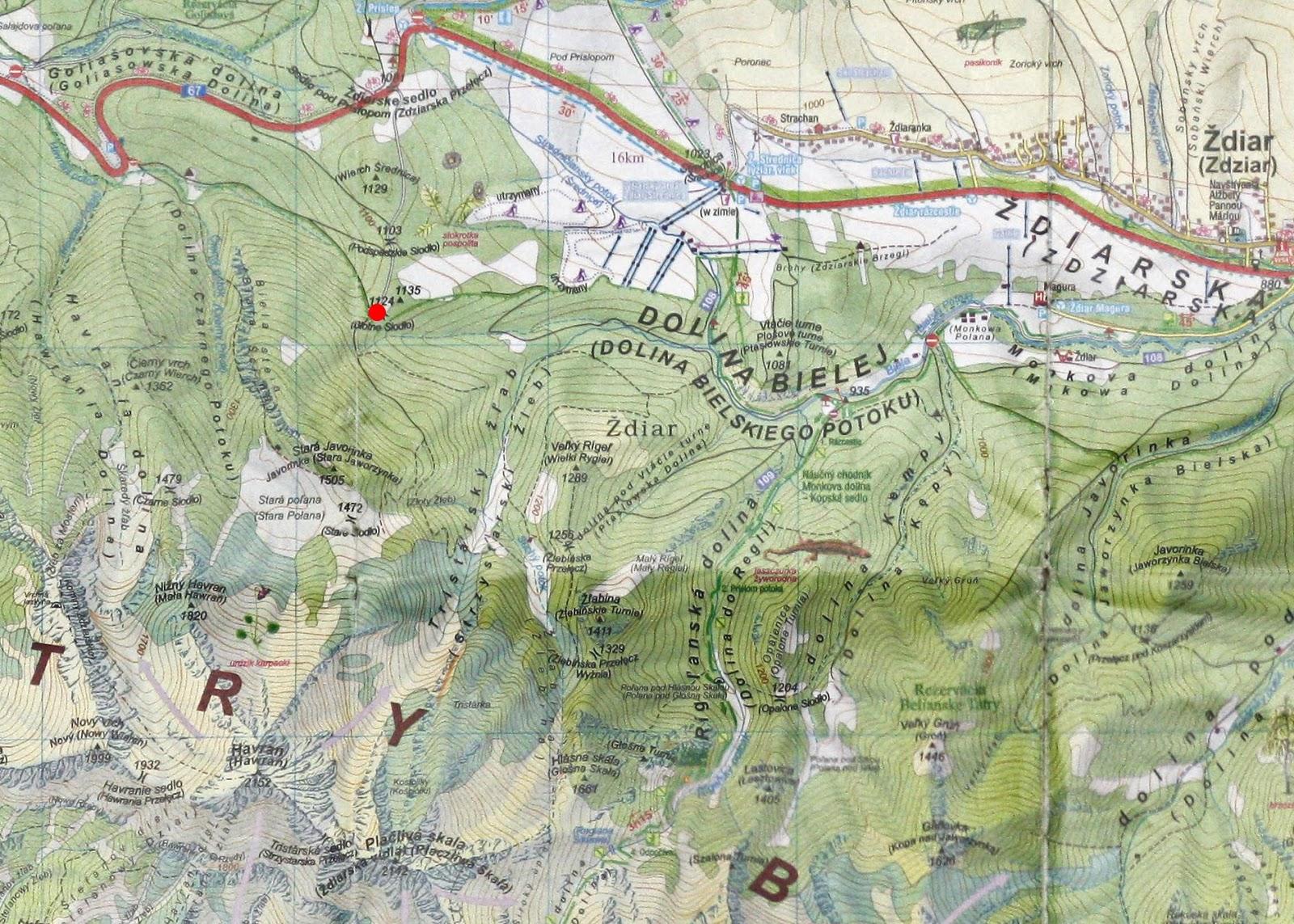 Błotne Siodło na mapie